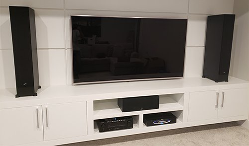 TV Mount with speakers in wall unit