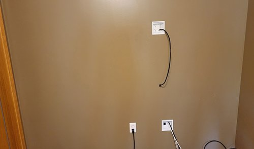 Network cables in wall