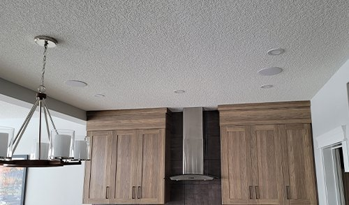 Speakers in ceiling of kitchen