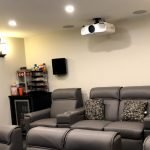 Projector in ceiling of theatre room