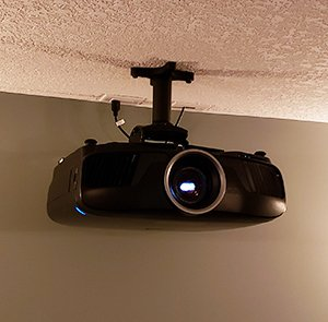cropped in black projector on ceiling