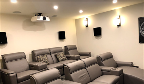 Projector mount in theatre room